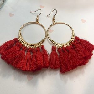 Boho tassel hoop earrings